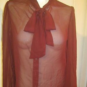 Chiffon Pussy Bow Blouse (Merlot wine color) 🍷